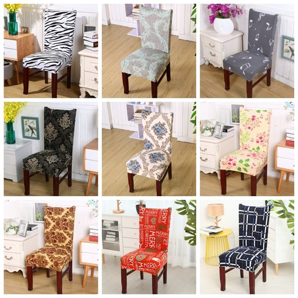 Spandex Chair Covers Removable Chair Cover Stretch Dining Seat Covers Elastic Slipcover Banquet Wedding Decor 40 Designs 100pcs YW1820