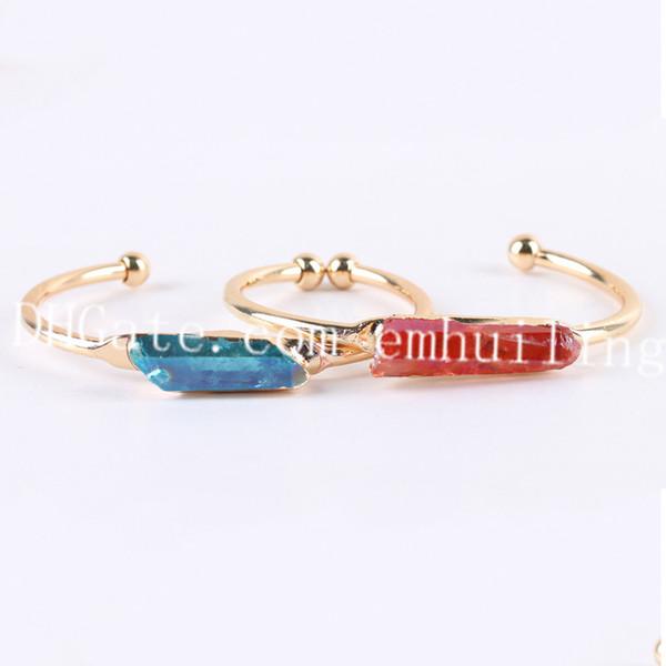 10pcs Titanium Aura Raw Crystal Gold Plated Cuff Healing Spiritual Orange-Red/Pink/Blue/Green/Purple Druzy Rock Quartz Open Bracelet Bangle