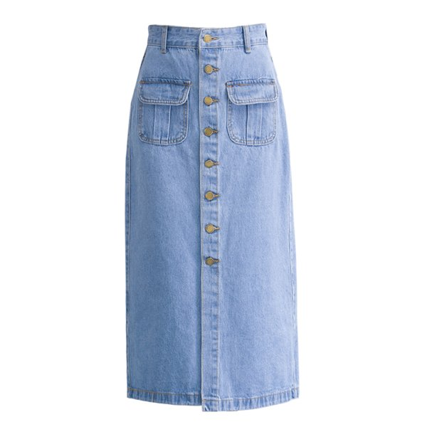 top-rated real size 40 new style & luxury 2019 2019 New Women'S Jeans Skirt Summer Long Woman Blue Skirts Pocket  Fashion Single Button Female High Waist Skirt From Sogga, $48.31 |  DHgate.Com