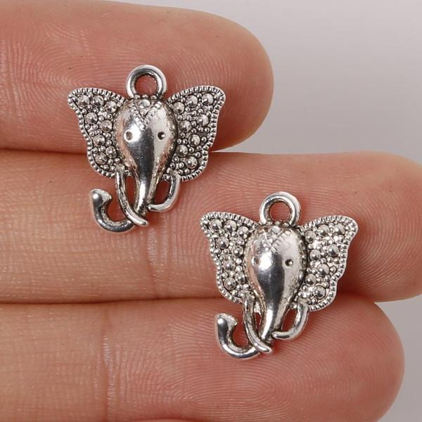 Gros- Top Qualité 14pcs / lot 15 * 16 mm Argent Antique en alliage de zinc plaqué Charms éléphant Pendentifs Résultats de bijoux pour braclets Collier
