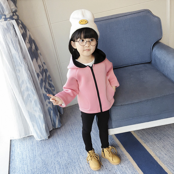 Children's Clothing 2019 Girls Autumn Outerwear Space Cotton Long-sleeve With A Hood Pink Cardigan Child/baby Jacket