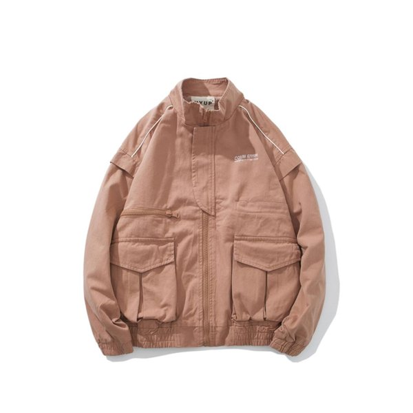 Pink Army Green Black Cargo Pocket Men Jacket Stand Collar