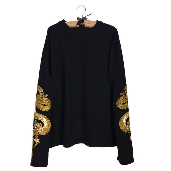 Lychee Harajuku Punk Gothic Women Sweatshirt Dragon Embroidery Casaual Loose Long Sleeve Pullover Tracksuit Y190823