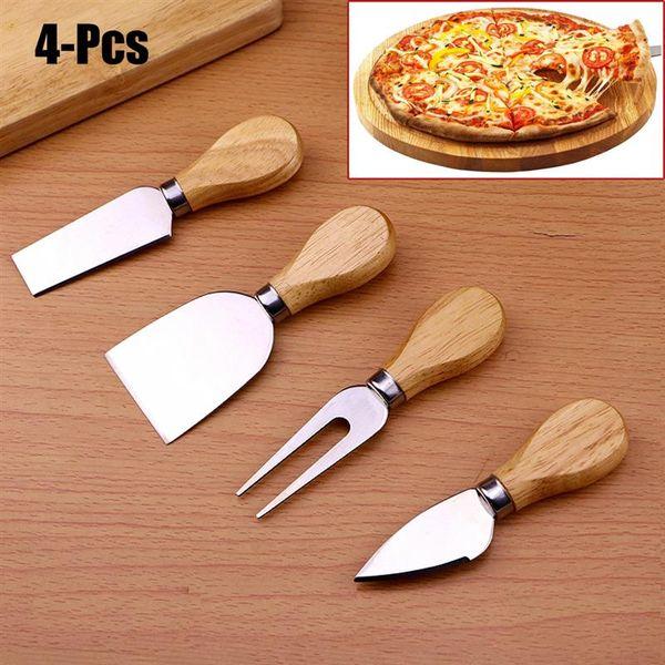4pcs/set Cheese Knife Useful Tools Set Oak Handle Pizza Knife Fork Shovel Kit Graters For Cutting Baking Chesse Board Sets 50sets