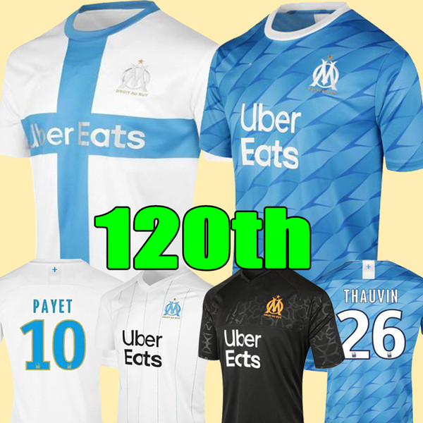 top popular 19 20 Olympique De Marseille soccer jersey OM jerseys 2019 2020 maillot de foot PAYET THAUVIN 120 years football shirt 120th anniversary 2019
