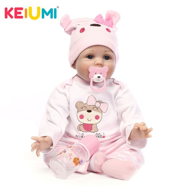 KEIUMI Hot Sale Bebe 42cm Silicone Reborn Baby Doll Soft Cloth Body Adorable Lifelike Mohair Newborn Doll For Kids Playmate