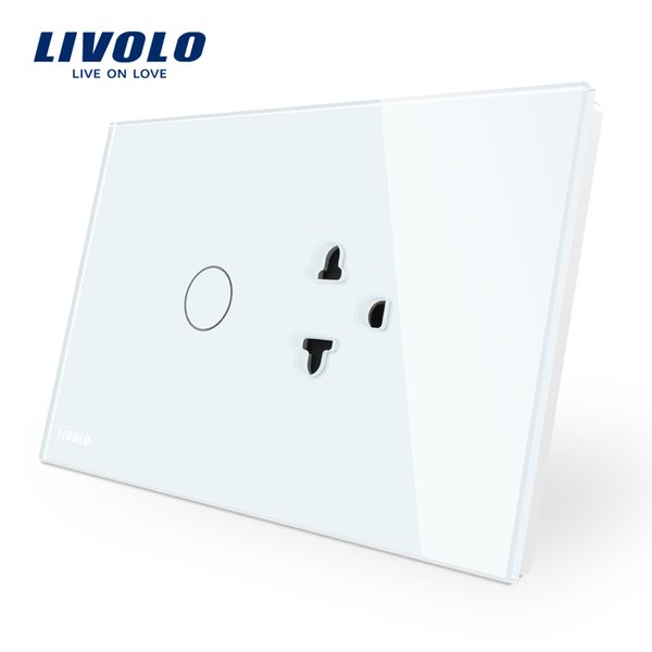 Livolo US / AU Standard Touch Switch + US Presa, con pannello in cristallo bianco, 1 interruttore tattile e presa USA