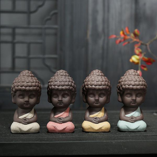 Small Buddha Statue Monk Figure India Yoga Mandala Tea Pet Ceramic Crafts Decorative 4 Styles Free Dhl 433 Novelty Household Items Novelty Items From