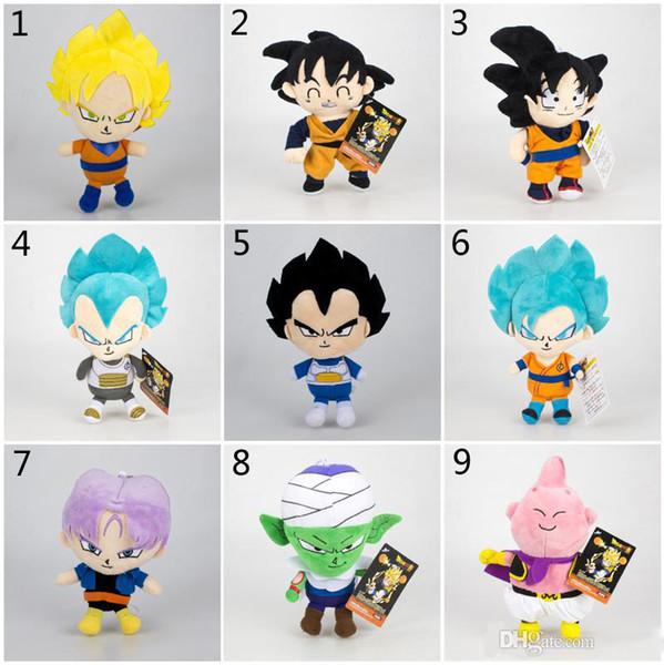 16-20cm Dragon Ball Z Plush Toys Cartoon Kuririn Vegeta Goku Gohan Piccolo Beerus Stuffed Dolls Kids Christmas Gift toy