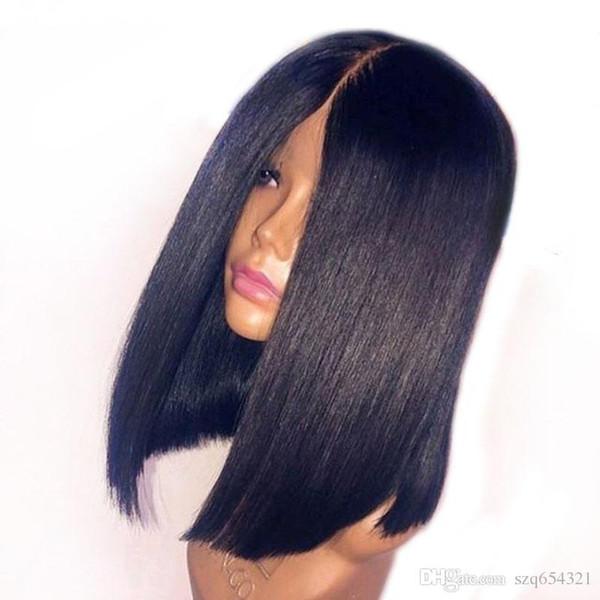 Parrucca per capelli umani Bob Bob frontale in pizzo 13x6 con taglio profondo per donne nere Parrucca peruviana capelli lisci per capelli remy Prepluckd Taglio smussato