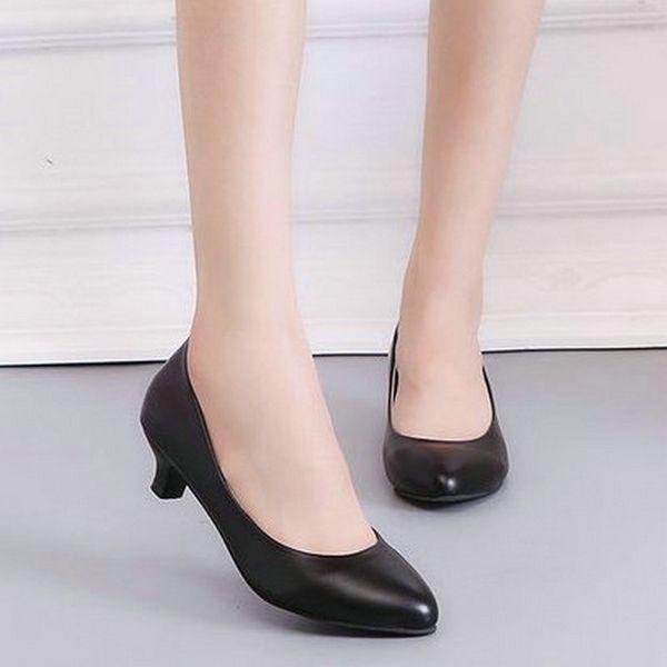 Shoes 2019 Spring PU Leather Fine Toe Woman Lazy Pumps Fashion Work Dress High Heel Woman Black heel height 3cm 5cm 7cm EE-128