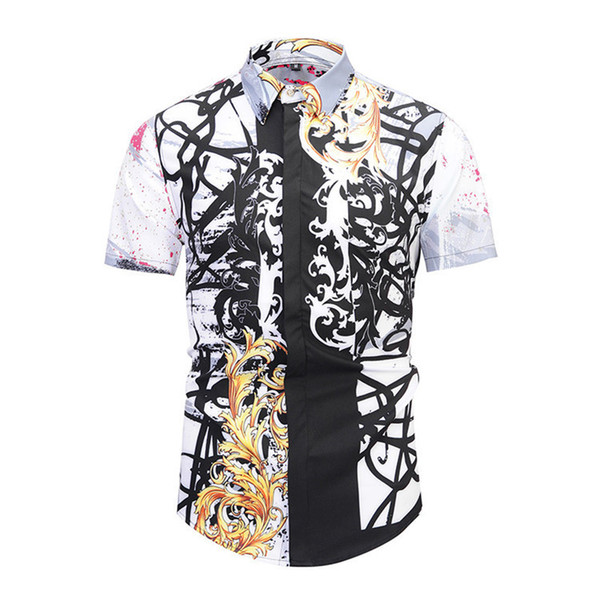 2018 New Pattern Fashion Trend Original Picture Color Authentic 3D Printing Short Sleeve Shirt Mens