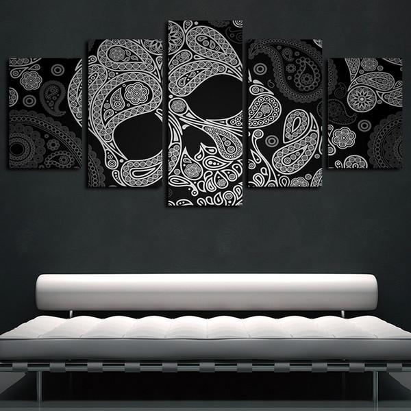 5 panneaux Crâne noir et blanc Fleur abstraite Oeuvres de toile Wall Art Affiche abstraite TOILE Peinture à l'huile décorations pour les murs