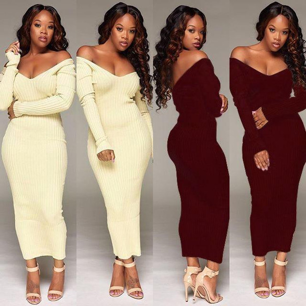 WholeTide Nice Autumn Sexy Boat Neck Pure Color Night Dress Skirt Lady Europe And America Style Long Sleeve Pencil Skirt