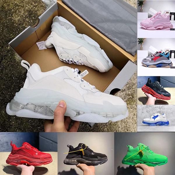 (con scatola) Paris Triple-S 17FW Crystal Bottom Green Luxury Dad Scarpe Piattaforma Triple S Sneakers Uomo Donna Vintage Kanye Old Grandpa Trainer