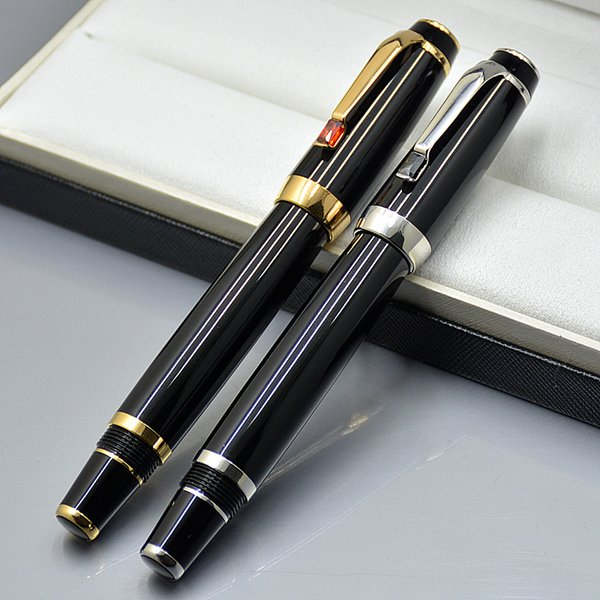 Luxury Bohemies Black Resin Golden / Silver Clip Roller ball pen Office & School Supplies with Diamond Cap and Monte Branding Serial number