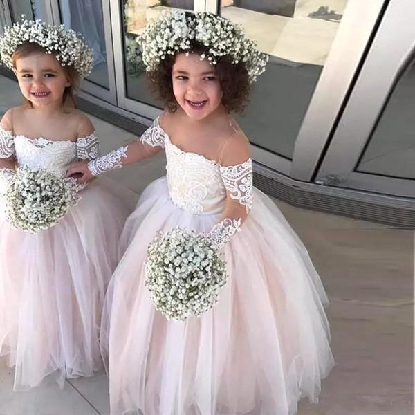 Princesa vestido de baile de tule flor meninas vestidos de manga comprida apliques de renda branco marfim da criança vestidos de noiva BC2257