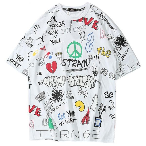 Hip Hop Tshirt Streetwear Hommes Harajuku Graffiti T-shirts 2019 T-shirt Fashion Swag Eté HipHop Vêtements Urbains T-shirts De Skateboard