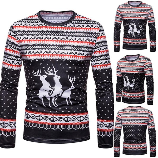 2019 Christmas Fashion Men Elk Print O Neck Long Sleeve Casual Bottoming  Top Blouse Polyester/Spandex Xmas Style Casual Men\u0027S From Ys_clothing,  $31.12