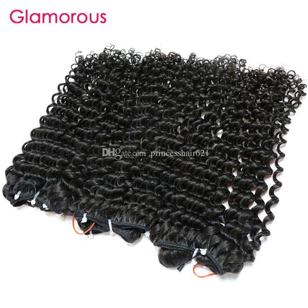 Glamorous Human Hair Weaves 4 Bundles Double Weft Brazilian Tight Curly Virgin Hair Weft 8-30inch Peruvian Indian Malaysian Remy Hair Weaves