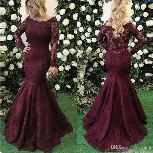 Elegant Burgundy Mermaid Prom Dresses Long Sleeves Boat Neck Lace Appliques Women Formal Wear Gala Dress 2019 Evening Gowns