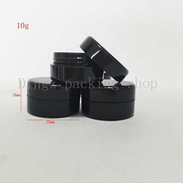 100 unids 10g negro Pequeño Cosmético Vacío Plástico Negro Crema Tarro 10cc Frasco de plástico Negro Ojo Crema Botella Cosmética