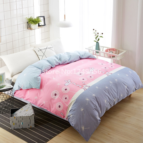 Cartoon Pink Giraffe Dandelion Duvet Cover Twin Full Double Queen 1 Piece Cute Quilt Cover for Girl Kids Home Bedding Bedclothes