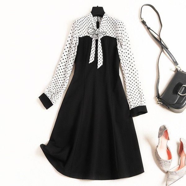 2019 Spring Luxury Long Sleeve Crew Neck Polka Dot Print Chiffon Ribbon Tie-Bow Knee-Length Dress Fashion Casual Dresses J0850100