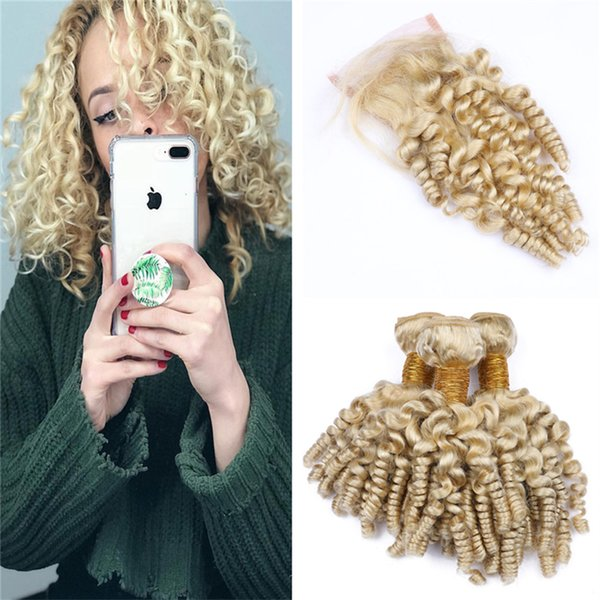 Indian Blonde Funmi Hair Weave Bundles with Lace Closure Aunty Spiral Curls Human Hair and Closure Bouncy Curly Virgin Hair Extensions