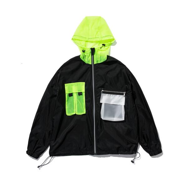 Veste pour homme 2019 de style coréen en vrac à capuche zippée noir blanc coupe-vent rue extérieur usure mode manteau et veste pour hommes SH190906