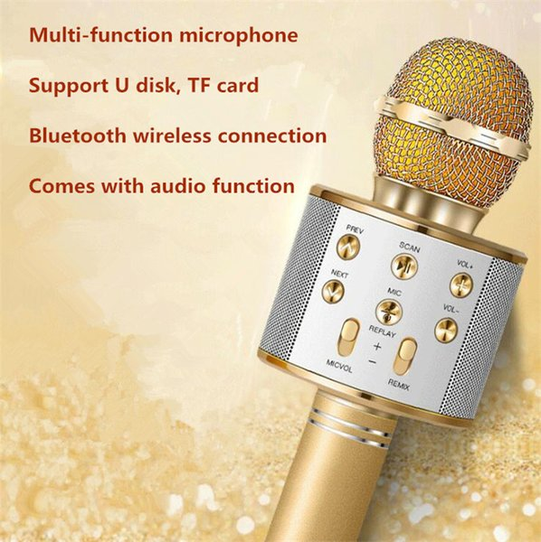 Explosion models mobile phone K song wireless home microphone microphone Bluetooth microphone comes with audio WS858