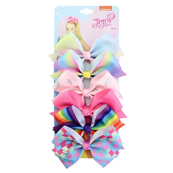JOJO SIWA 5.5inch LARGE Rainbow Unicorn Signature HAIR BOW with card and sequin logo baby girl Children Hair Accessories fashion hair clips