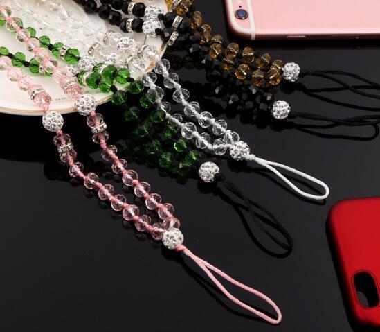 Moda teléfono celular cristalino correa para el cuello Artificial teléfono móvil Crystal Hang Lanyard encantos del teléfono cuerda hecha a mano universal