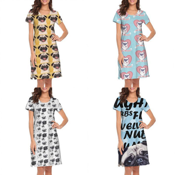 Womens design printing Pugs And Kisses white lounge shirt dress make a band printed loungewear cute neon movie casual nighties for of