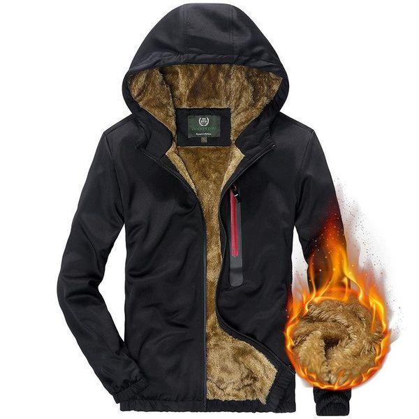 Winter Casual Mens Hoodies Sweatshirts Fleece Hooded Cotton Cardigan Asia Size Hoodies Long Sleeve Clothes Warm