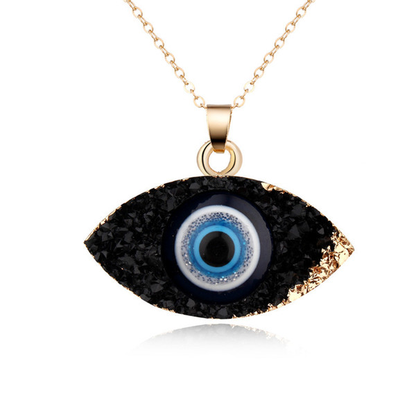 top popular Simple Evil Eye Pendant Necklace Women Resin Handmade Clavicel Chains Necklaces for Female Christmas Imitation Natural Stone Necklace 2021