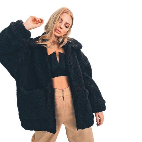 Mode Faux Pelzmantel Frauen Herbst Winter Warme Weiche Weibliche Plüsch Mantel Damen Casual Oberbekleidung 3xl Plus Größe Streetwear Schwarz