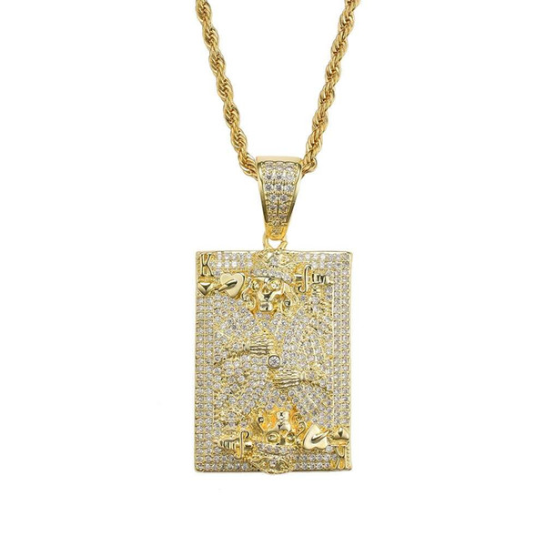 hip hop card K diamonds pendant necklaces for men women western luxury skeleton king necklace real gold plated copper zircons jewelry