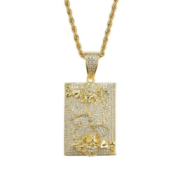 Tarjeta de hip hop K diamantes collares pendientes para hombres mujeres occidental lujo esqueleto rey collar oro plateado cobre circones joyería