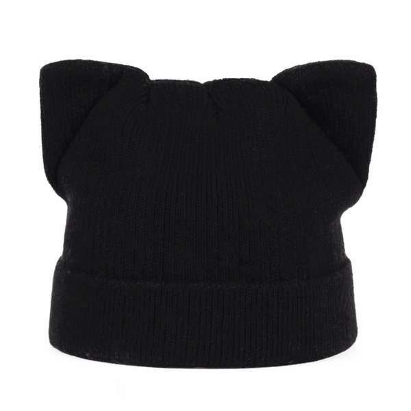 Branded YUNICA 2017 Hat pure color cotton knitted adult hat girl fashion spring autumn and winter cat ears