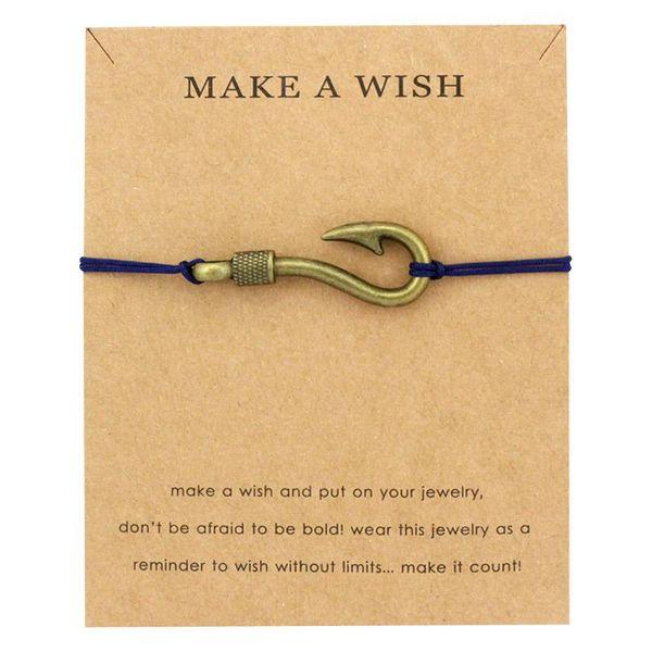 Make a Wish Jewelry Silver Brass Arrow Anchors Fish Hook Rudder Seahorse Starfish Mermaid Seashells Charm Men Bracelet for Women