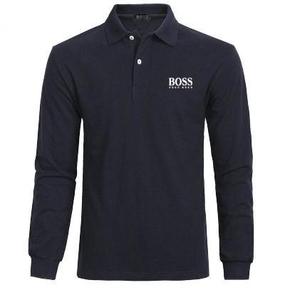 Casual Polo Gömlek erkek t shirt moda bahar Logosu klasik Bos erkekler tee Medusa 100% pamuk uzun kollu Tişörtü polo gömlek