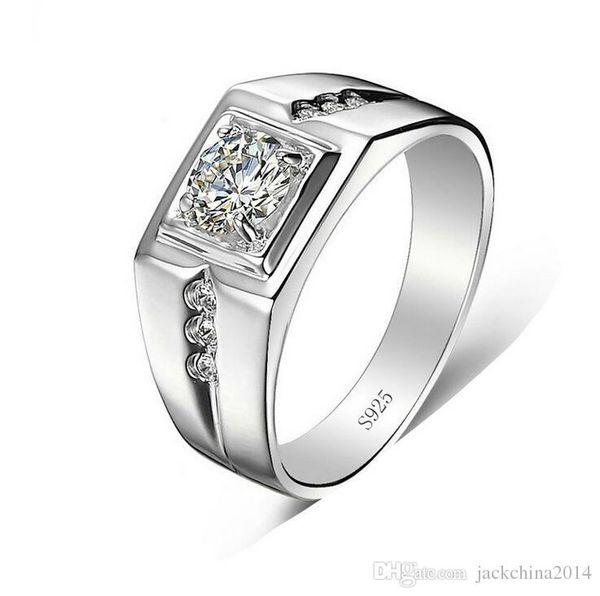Venta al por mayor Solitario Joyas de lujo Plata de ley 925 Topacio blanco CZ Zirconia Diamante Compromiso de boda Hombres Anillo de dedo Tamaño del regalo 7-12