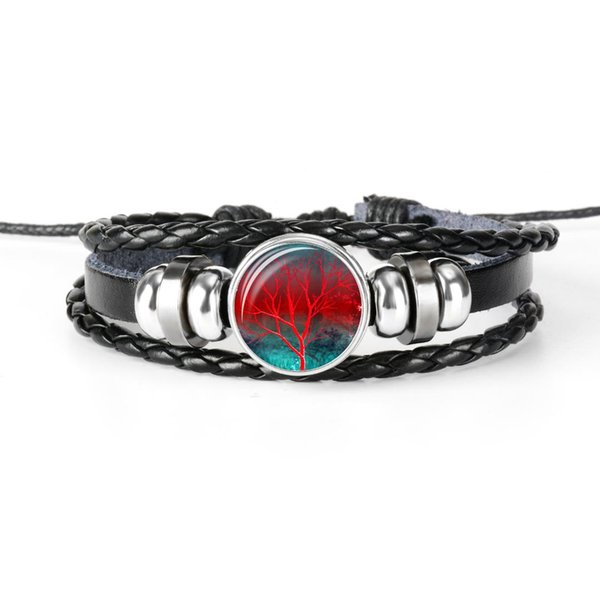 Circle Tree of Life Charm Bracelets for Women Men Fashion Glass Cabochon Punk Rock Jewelry Multilayer Leather Bracelet