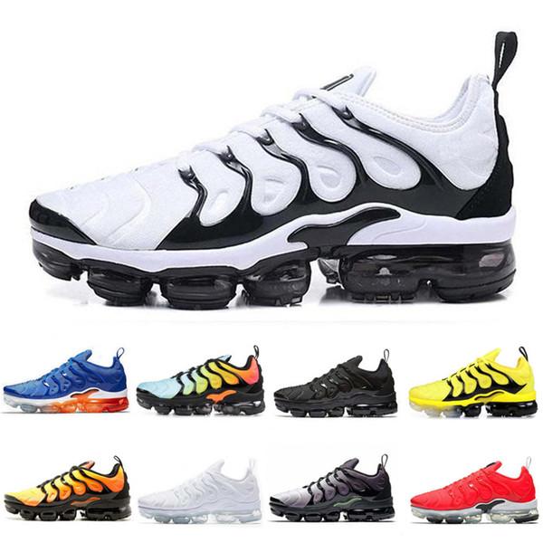 Barato Bumblebee TN Plus Hombres Zapatos para correr Zapatillas de deporte Hombres Triple Negro Blanco Sunset Photo Zapatos azules Zapatos de diseñador Zapatillas deportivas Zapatillas de deporte