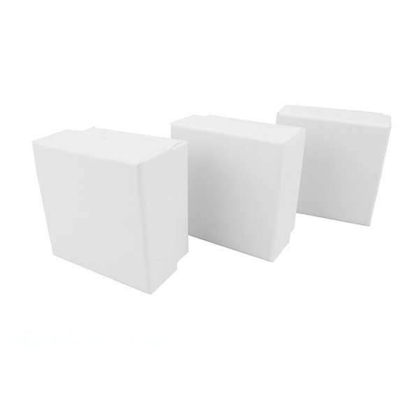 24pcs Ring Boxes for Jewellery 5*5*3cm White Paper Jewelry Display Box Ring Earrings Gift Packaging Black Sponge Can Custom Logo