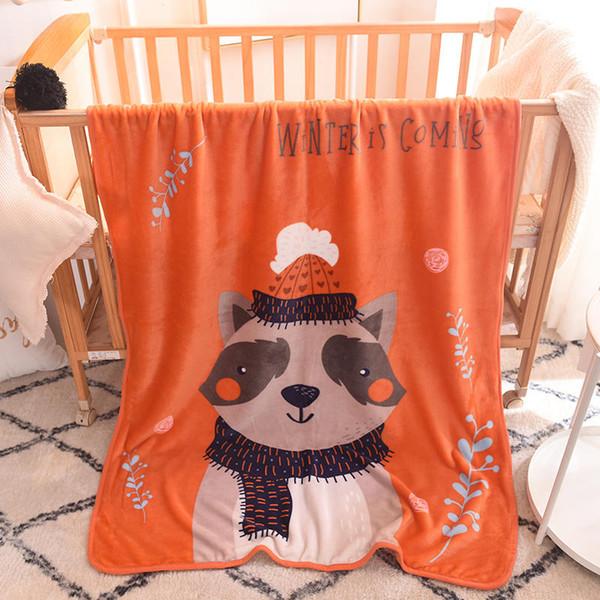 Nouveaux enfants dessin animé raton laveur simple couche flanelle couverture châle couverture douce et confortable mignonne couverture chaude