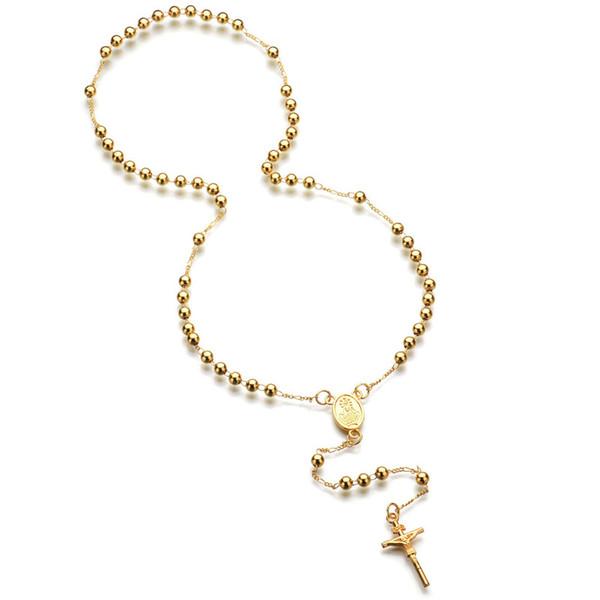 18K Gold Fashion Cross Rosary Pendant Necklace Jesus Beads Cross Hip Hop Necklace