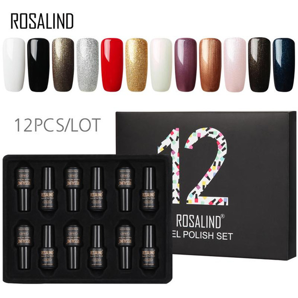 12PCS/LOT ROSALIND Gel Varnishes Set 7ML Long Lasting Pure Color Nail Art Manicure Set Need Base Top Coat Nail Gel Polish