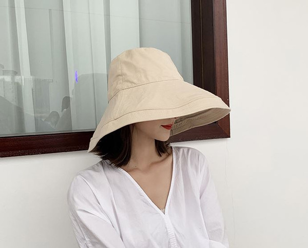 2019 new hat female spring and summer Korean version of the fisherman hat Japanese big sunshade sunscreen UV protection sun hat